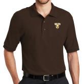Brown Easycare Pique Polo-Stacked Valpo Shield