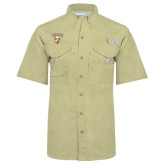 Columbia Bonehead Khaki Short Sleeve Shirt-Stacked Valpo Shield