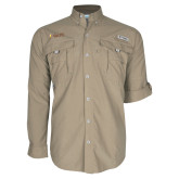 Columbia Bahama II Khaki Long Sleeve Shirt-Flat Valpo Shield
