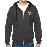 Charcoal Fleece Full Zip Hoodie-Stacked Valpo Shield