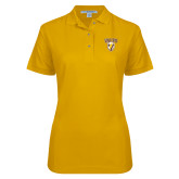 Ladies Easycare Gold Pique Polo-Stacked Valpo Shield