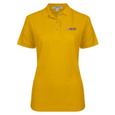 Ladies Easycare Gold Pique Polo-Flat Valpo Shield