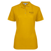 Ladies Easycare Gold Pique Polo-School of Psychology Vertical