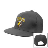 Charcoal Flat Bill Snapback Hat-Stacked Valpo Shield
