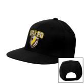 Black Flat Bill Snapback Hat-Stacked Valpo Shield