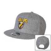 Heather Grey Wool Blend Flat Bill Snapback Hat-Stacked Valpo Shield