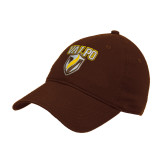 Brown Twill Unstructured Low Profile Hat-Stacked Valpo Shield