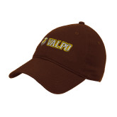 Brown Twill Unstructured Low Profile Hat-Flat Valpo Shield