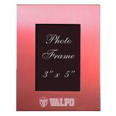 Pink Brushed Aluminum 3 x 5 Photo Frame-Flat Valpo Shield Engraved