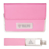 Business Card Case and Key Ring Set Pink-Flat Valpo Shield Engraved