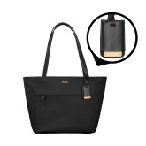Tumi Voyageur Small Black M Tote-Flat Valpo Shield Engraved