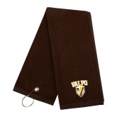 Brown Golf Towel-Stacked Valpo Shield