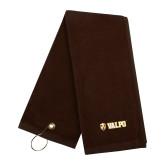Brown Golf Towel-Flat Valpo Shield