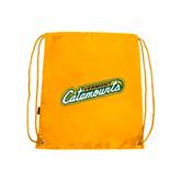 Gold Drawstring Backpack-Slanted Vermont Catamounts