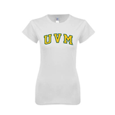 Next Level Ladies SoftStyle Junior Fitted White Tee-Arched UVM