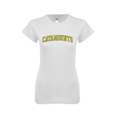 Next Level Ladies SoftStyle Junior Fitted White Tee-Arched Catamounts