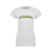 Next Level Ladies SoftStyle Junior Fitted White Tee-Arched Vermont Catamounts