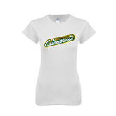 Next Level Ladies SoftStyle Junior Fitted White Tee-Slanted Vermont Catamounts