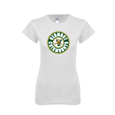 Next Level Ladies SoftStyle Junior Fitted White Tee-Vermont Catamounts Circle