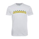 SoftStyle White T Shirt-Arched Vermont Catamounts