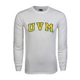 White Long Sleeve T Shirt-Arched UVM