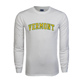 White Long Sleeve T Shirt-Arched Vermont