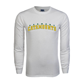 White Long Sleeve T Shirt-Arched Vermont Catamounts