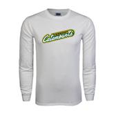 White Long Sleeve T Shirt-Slanted Vermont Catamounts