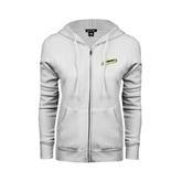 ENZA Ladies White Fleece Full Zip Hoodie-Slanted Vermont Catamounts