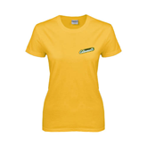 Ladies Gold T Shirt-Slanted Vermont Catamounts