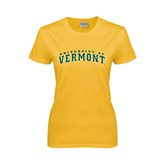 Ladies Gold T Shirt-Arched University of Vermont