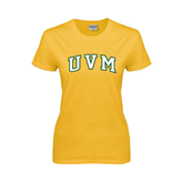 Ladies Gold T Shirt-Arched UVM