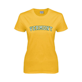 Ladies Gold T Shirt-Arched Vermont