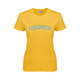 Ladies Gold T Shirt-Arched Catamounts