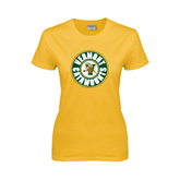 Ladies Gold T Shirt-Vermont Catamounts Circle