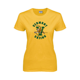 Ladies Gold T Shirt-Skiing
