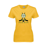 Ladies Gold T Shirt-Hockey Sticks Crossed Design