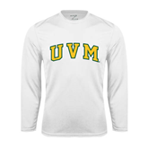 Syntrel Performance White Longsleeve Shirt-Arched UVM