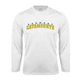 Syntrel Performance White Longsleeve Shirt-Arched Vermont Catamounts