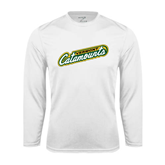 Syntrel Performance White Longsleeve Shirt-Slanted Vermont Catamounts