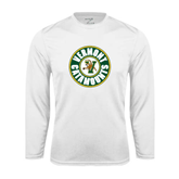 Syntrel Performance White Longsleeve Shirt-Vermont Catamounts Circle