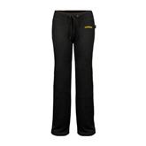 ENZA Ladies Black Fleece Pant-Arched Vermont Catamounts