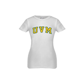 Youth Girls White Fashion Fit T Shirt-Arched UVM