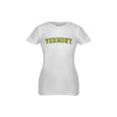 Youth Girls White Fashion Fit T Shirt-Arched Vermont