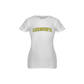 Youth Girls White Fashion Fit T Shirt-Arched Catamounts