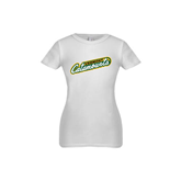 Youth Girls White Fashion Fit T Shirt-Slanted Vermont Catamounts
