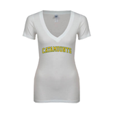 Next Level Ladies Junior Fit Deep V White Tee-Arched Catamounts