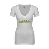 Next Level Ladies Junior Fit Deep V White Tee-Arched Vermont Catamounts