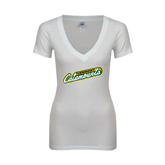 Next Level Ladies Junior Fit Ideal V White Tee-Slanted Vermont Catamounts