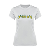 Ladies Syntrel Performance White Tee-Arched Vermont Catamounts